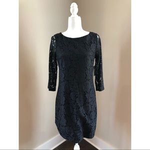Vince Camuto Black Shirttail Hem Shift Dress